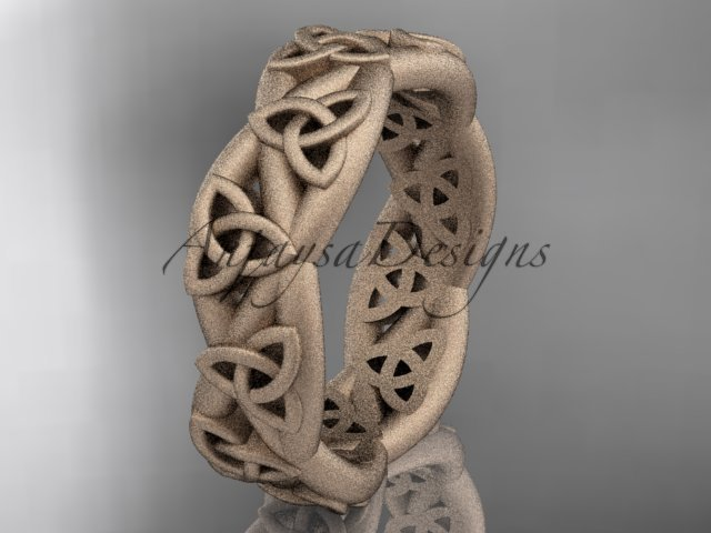 14kt rose gold celtic trinity knot, matte finish triquetra ring, engagement ring CT7392G
