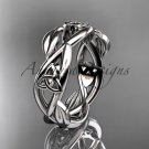 14kt white gold celtic trinity knot wedding band, triquetra ring, engagement ring CT7403G
