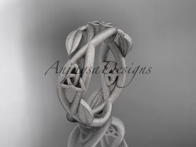 14kt white gold celtic trinity knot , matte finish,  triquetra ring, engagement ring CT7403G