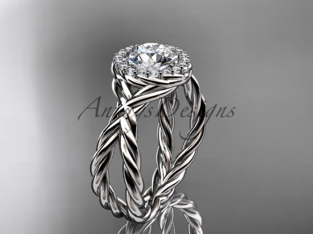 14kt white gold diamond rope engagement ring with a Moissanite center stone RP889