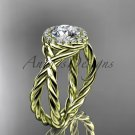 14kt yellow gold diamond rope engagement ring with a Moissanite center stone RP889