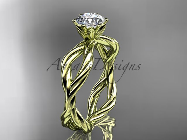 """14kt yellow gold """"Forever One"""" Moissanite rope engagement ring RP8100"""