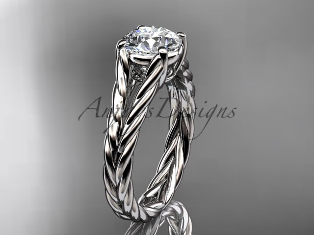 "14kt white gold twisted rope engagement ring with a ""Forever One"" Moissanite center stone RP8108"