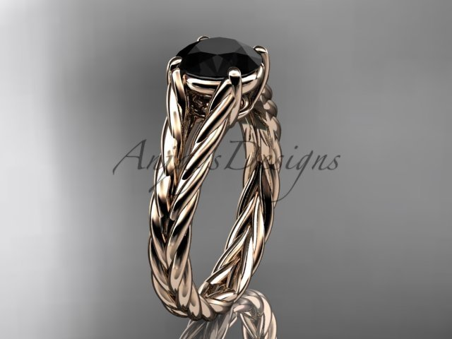14kt rose gold twisted rope engagement ring with a Black Diamond center stone RP8108