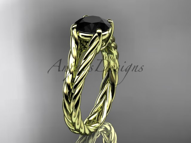 14kt yellow gold twisted rope engagement ring with a Black Diamond center stone RP8108