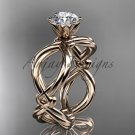 "14kt rose gold twisted rope engagement ring with a ""Forever One"" Moissanite center stone RP8192"