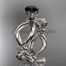 14kt white gold twisted rope engagement ring with a Black Diamond center stone RP8192