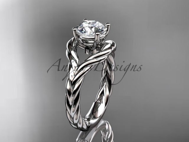 "Platinum ""Forever One"" Moissanite twisted rope engagement ring RP8125"
