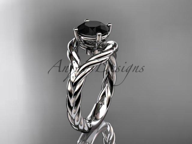 Platinum  Black Diamond twisted rope engagement ring RP8125