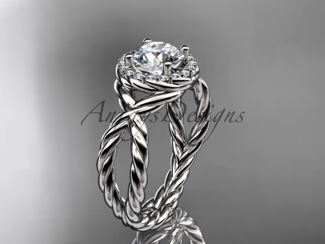Platinum  rope halo diamond engagement ring with a Moissanite center stone RP8127