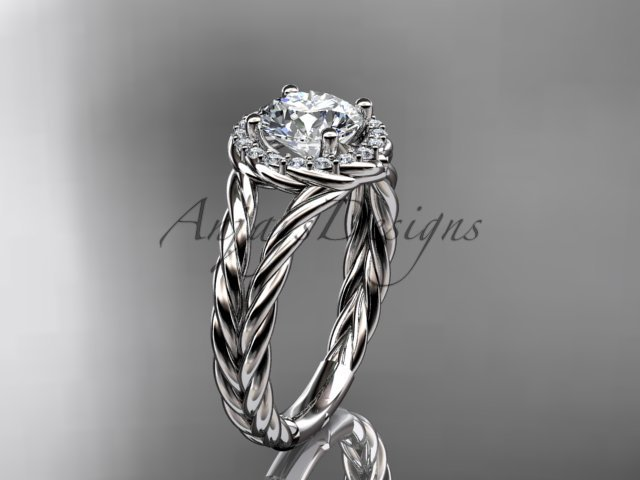 14kt white gold rope halo diamond engagement ring with a Moissanite center stone RP8131