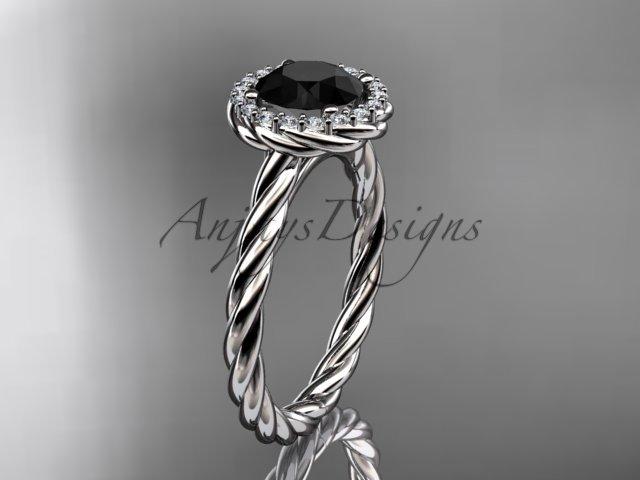 platinum  Black Diamond rope engagement ring RP8197