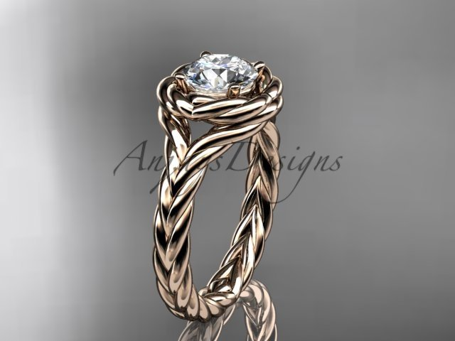 "14kt rose gold twisted rope engagement ring with a ""Forever One"" Moissanite center stone RP8201"