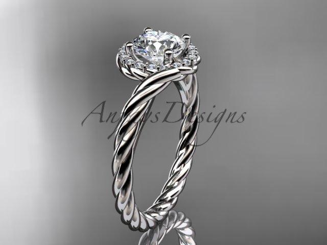 """14kt white gold """"Forever One"""" Moissanite rope engagement ring RP8379"""