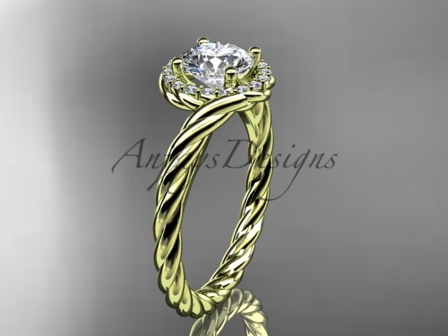 """14kt yellow gold """"Forever One"""" Moissanite rope engagement ring RP8379"""