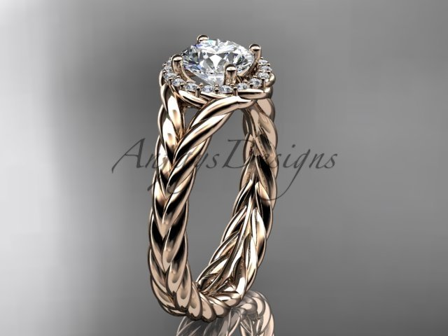 14kt rose gold halo rope diamond engagement ring RP8380