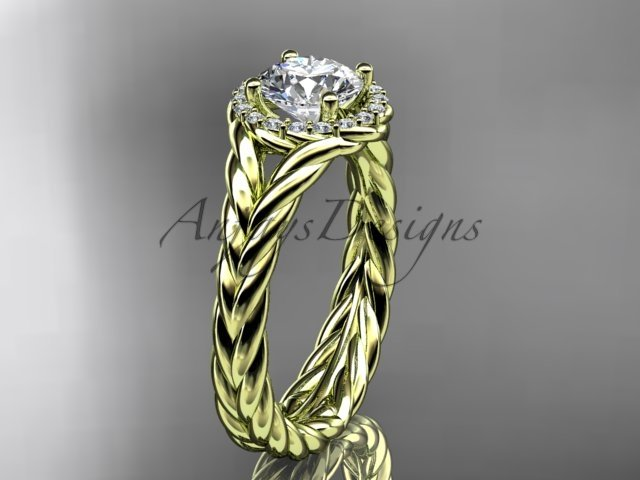"14kt yellow gold halo rope diamond engagement ring ""Forever One"" Moissanite center stone RP8380"