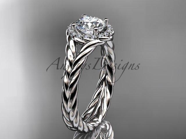 """Platinum halo rope diamond engagement ring """"Forever One"""" Moissanite center stone RP8380"""