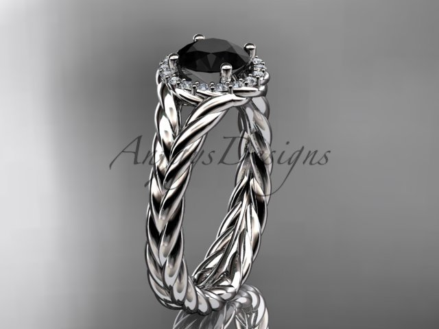 14kt white gold halo rope diamond engagement ring Black Diamond center stone RP8380