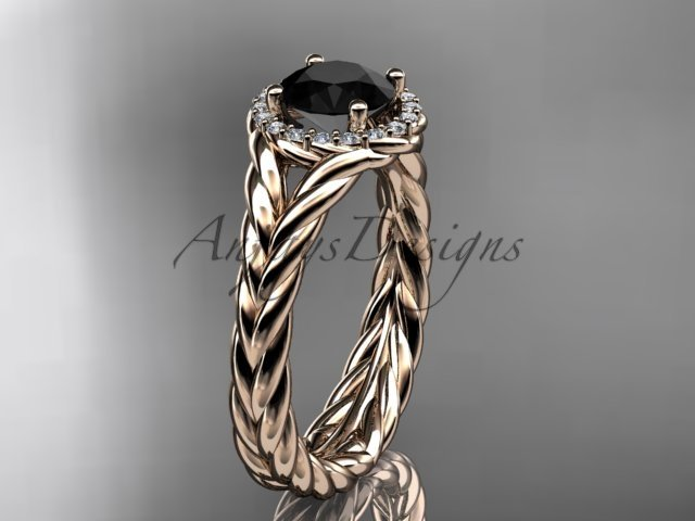14kt rose gold halo rope diamond engagement ring Black Diamond center stone RP8380