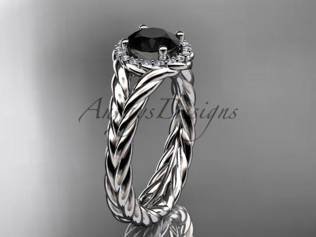 Platinum halo rope diamond engagement ring Black Diamond center stone RP8380