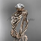 14kt rose gold rope celtic forever one moissanite engagement rings RPCT970