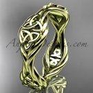 14k yellow gold rope Black Diamond Celtic Bridal ring RPCT998G