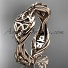 14k rose gold rope Black Diamond Celtic Bridal ring RPCT998G