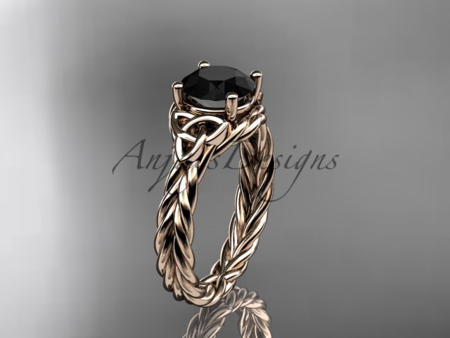 14kt rose gold rope triquetra celtic engagement ring with a Black Diamond center stone RPCT9112