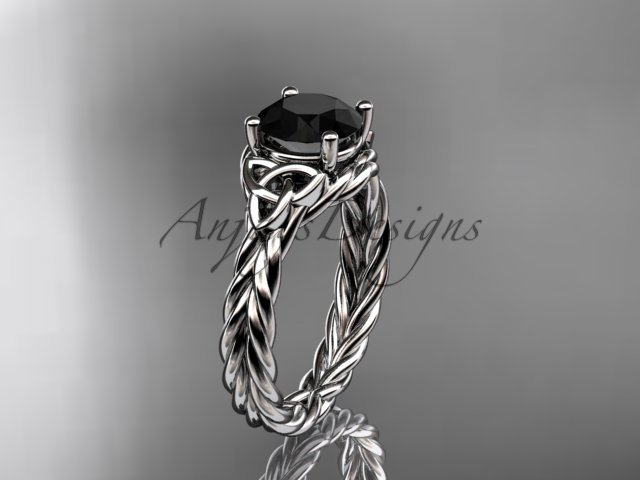 Platinum rope triquetra celtic engagement ring with a Black Diamond center stone RPCT9112