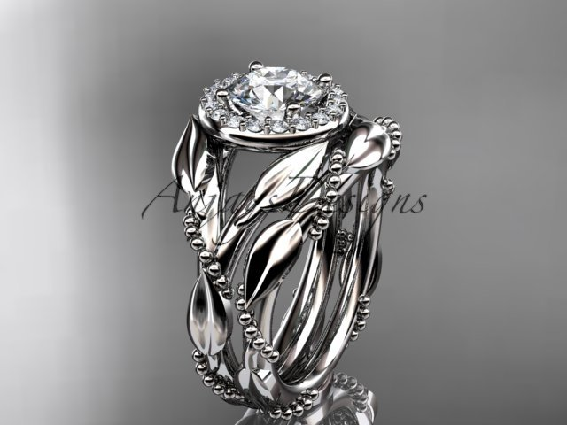 14kt white gold diamond leaf and vine engagement set ADLR328S