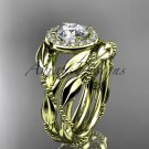 14kt yellow gold diamond leaf and vine engagement set ADLR328S