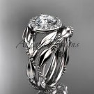 14kt white gold diamond leaf and vine engagement set with a Moissanite center stone ADLR328S