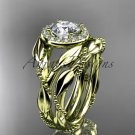 14kt yellow gold diamond leaf and vine engagement set with a Moissanite center stone ADLR328S