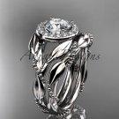 Platinum diamond leaf and vine engagement set with a Moissanite center stone ADLR328S