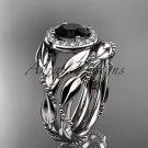 Platinum  diamond leaf and vine engagement set with a Black Diamond center stone ADLR328S