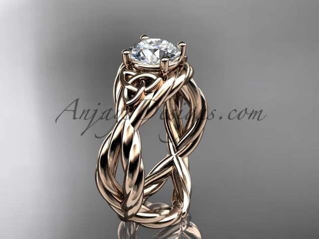 14kt rose gold rope celtic forever one moissanite engagement ring RPCT9181
