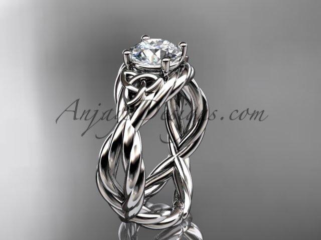 platinum  rope celtic forever one moissanite engagement ring RPCT9181