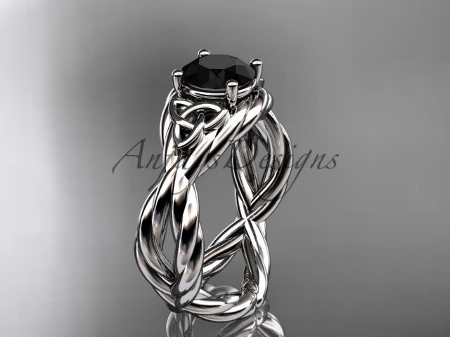 14kt white gold rope celtic engagement ring with a Black Diamond center stone RPCT9181
