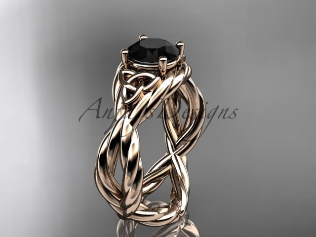 14kt rose gold rope celtic engagement ring with a Black Diamond center stone RPCT9181