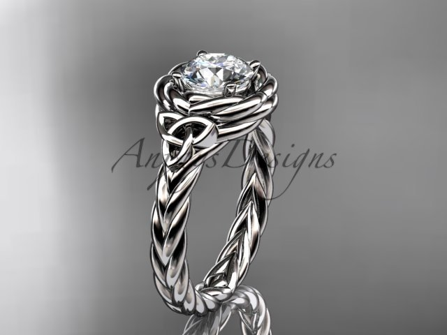 14kt white gold celtic nautical engagement ring with a Moissanite center stone RPCT9201
