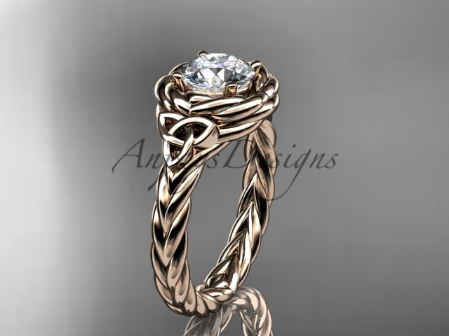 14kt rose gold celtic nautical engagement ring with a Moissanite center stone RPCT9201