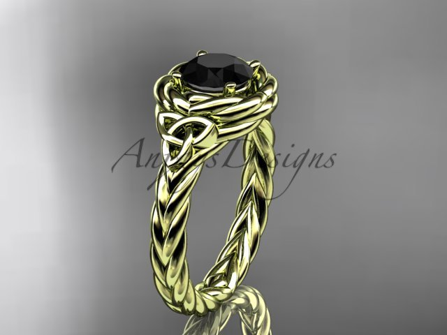 14kt yellow gold celtic nautical engagement ring with a Black Diamond center stone RPCT9201