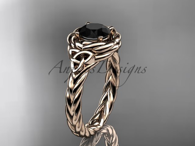 14kt rose gold celtic nautical engagement ring with a Black Diamond center stone RPCT9201