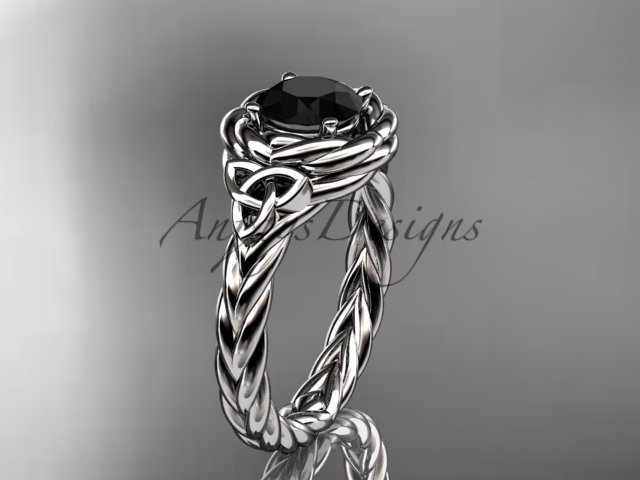 Platinum celtic nautical engagement ring with a Black Diamond center stone RPCT9201