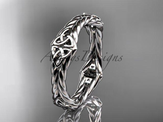 14k white gold rope celtic trinity knot wedding band RPCT9356G
