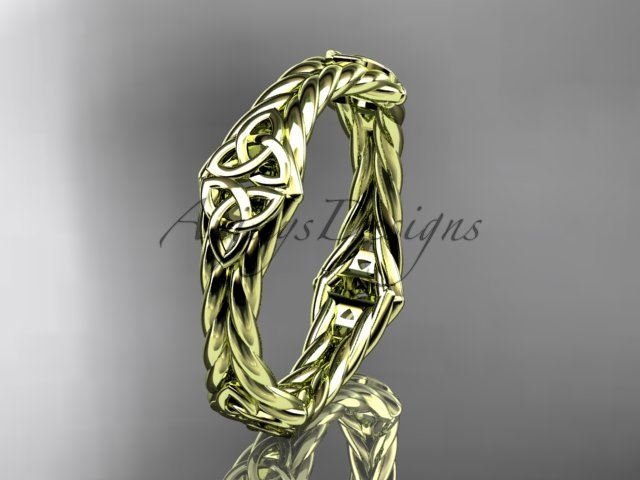 14k yellow gold rope celtic trinity knot wedding band RPCT9356G
