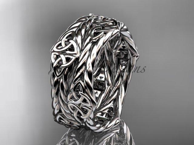 14k white gold rope celtic trinity knot wedding band RPCT9357G