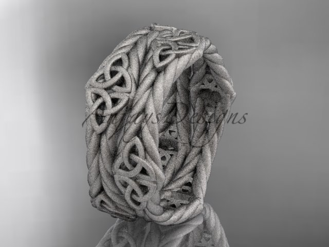 platinum  matte finish rope celtic wedding band RPCT9357G