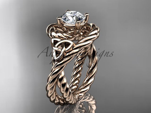 14kt rose gold celtic trinity twisted rope wedding ring RPCT9320